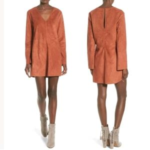 NWT ASTR The Label faux suede shift dress in rust